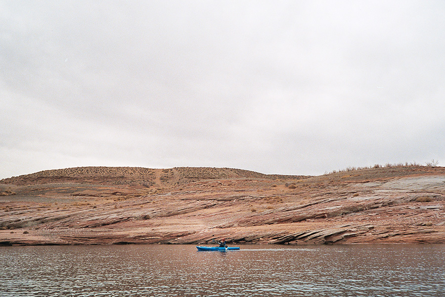 Kayaking Lake Powell...it didn't last too long since it was windy as hell, cold as hell, and my kayak was leaking.