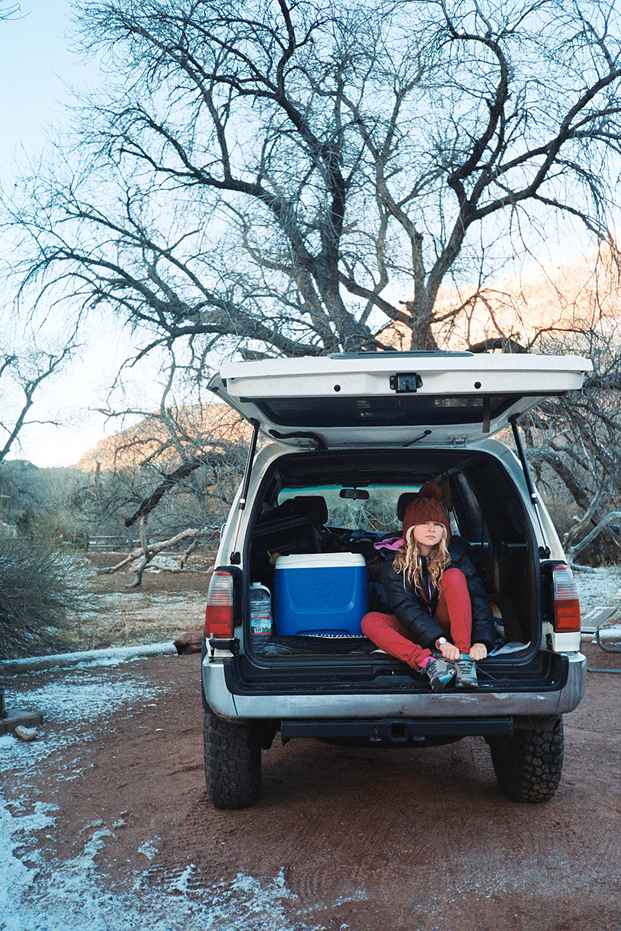 We made it to Zion in the dark of night, so after grabbing some pizza in town we snuck into a campsite in the park to camp in the back of the 4runner again.