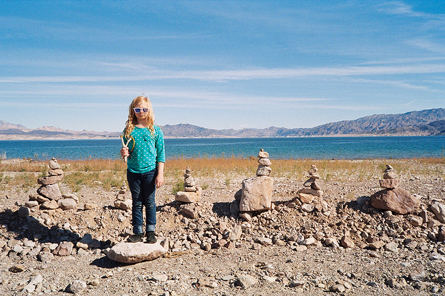 The next morning, making rock stacks by lake mead and having slingshot practice with our homemade slingshots :)