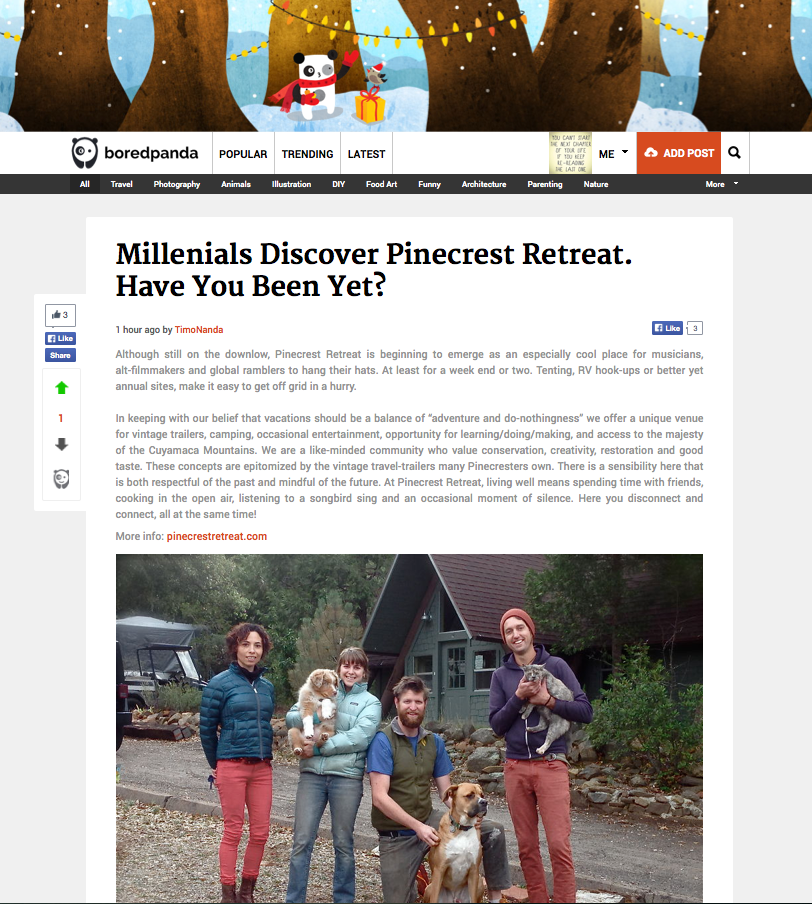 Pinecrest gets featured on online magazine  BoredPanda .