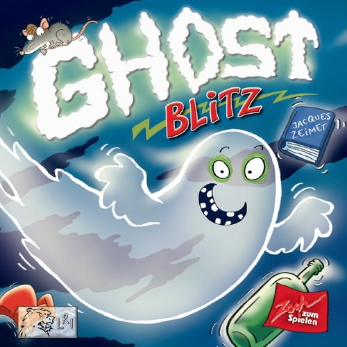 GHOST BLITZ     TIME: 20  PLAYERS: 2-8  DIFFICULTY: LIGHT Category: Dexterity, Party Ghost Blitz is a lightning fast, brain burning, reaction game with lots of laughs as you try to grab the right object while flipping cards. This game messes with your head and makes for some rowdy fun when you all dive across the table as you make that grab for glory. Clear the table and get set for Ghost Blitz.