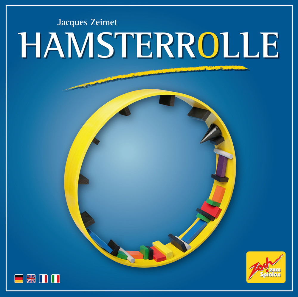 HAMSTERROLLE    TIME: 20  PLAYERS: 2-4  DIFFICULTY: LIGHT Category: Dexterity Get your hand steady and get your stacking skills ready for Hamsterrolle! This balancing act is Jenga in a hamster wheel, it has been a big favourite for The Hungry Hippo crew and we highly recommend you try your hand at it.