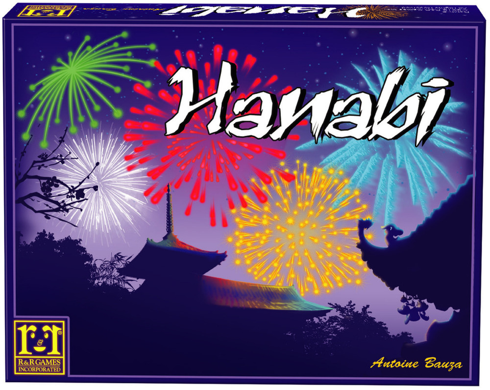 HANABI    TIME: 25  PLAYERS: 2-5  DIFFICULTY: MEDIUM Category: Deduction, Co-operative Winner of this year's Spiel des Jahres (Game of the year) Hanabi is a tongue biting co-operative game about putting down cards in order of colour and number. What makes any of that interesting? Everyone but you can see your cards. With little to no clues, together you must somehow make it happen. Have a crack at Hanbi.