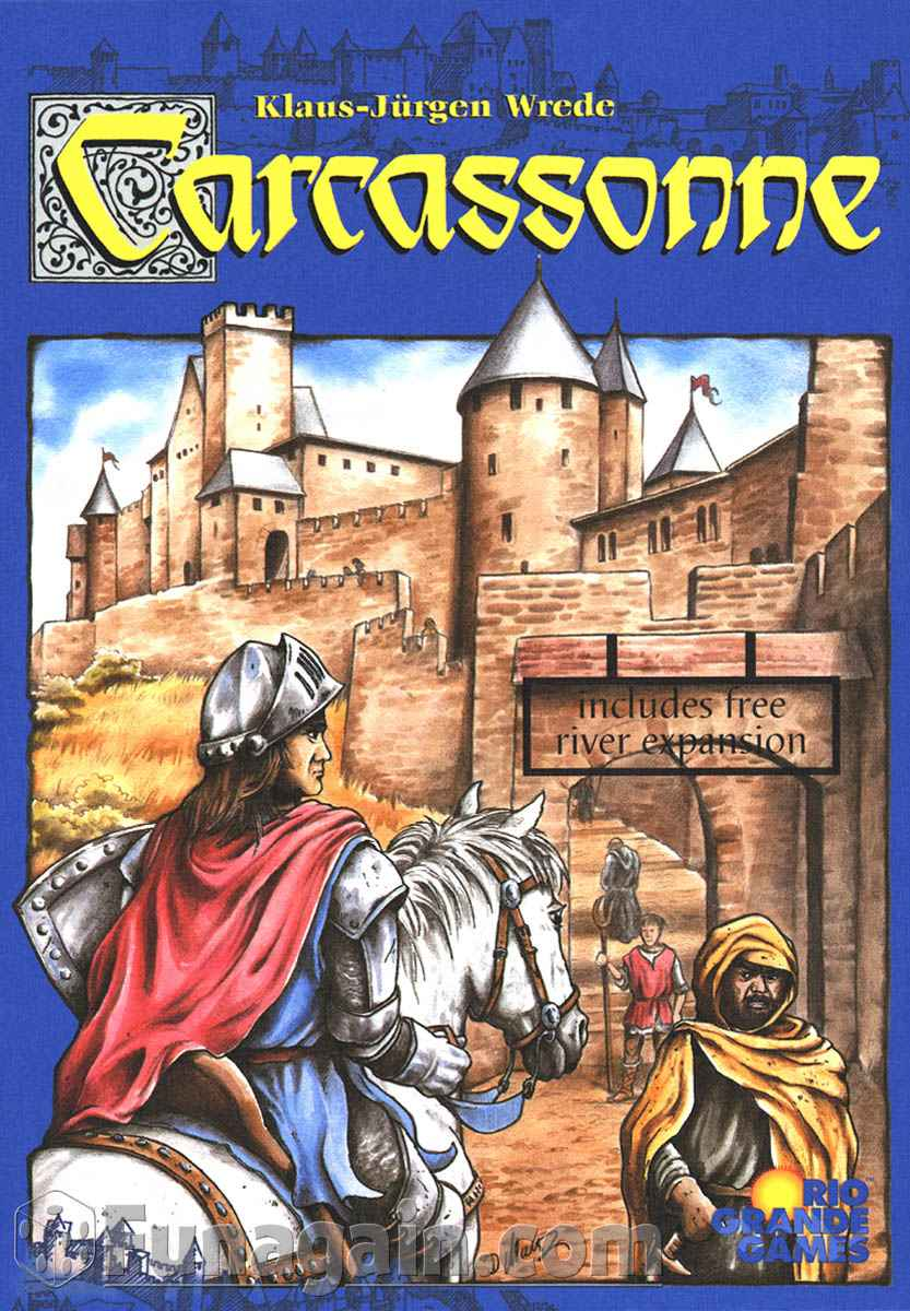 CARCASSONNE     TIME: 45  PLAYERS: 2-5  DIFFICULTY: MEDIUM Category: Strategy, Area Control, Tile Placement As everyone knows Carcassonne is a French city famous for its unique Roman and Medieval fortifications, right? Well the board game is a clever little area control game which for over a decade has been a staple in board gamer's collections because of how easy it is to teach and its hidden depths found with each play. It can be as light or as ruthless as your opponents.