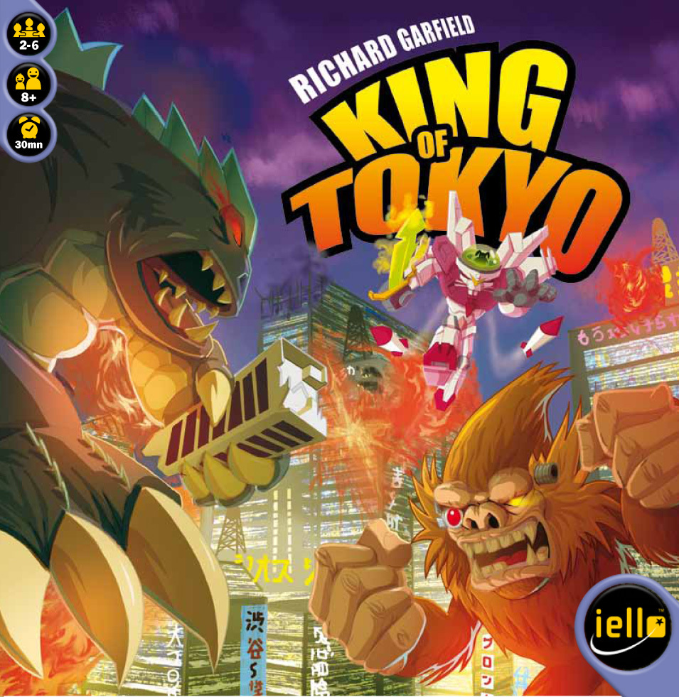 KING OF TOKYO       TIME: 30  PLAYERS: 2-6  DIFFICULTY: MEDIUM Category: Dice, Strategy A dice rolling, monster brawling good time. King of Tokyo sees you take control of a gigantic mutant monster and duke it out to be the fiercest and crowned King of Tokyo. If you want to throw dice and crush your mate's egos, King of Tokyo is the light game of banter and B grade monsters you've been looking for.