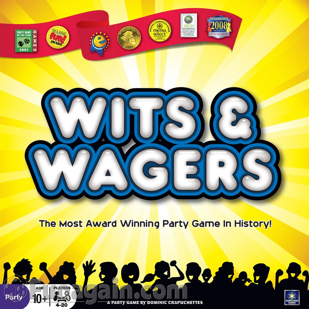 WITS AND WAGERS    TIME: 30  PLAYERS: 3-7  DIFFICULTY: LIGHT Category: Trivia, Party For a different take on your ordinary trivia game, Wits and Wagers takes Trivial Pursuit to the casino table by letting you bet on whose answer is correct.  Not the greatest trivia buff? That's okay! Bet on your smart friends instead, or take a punt and play the odds. Satisfy your trivia buff and dance with lady luck in Wits and Wagers.
