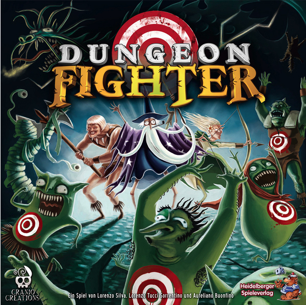 DUNGEON FIGHTER    TIME: 45  PLAYERS: 1-6  DIFFICULTY: MEDIUM Category: Co-operative, Strategy, Dexterity Can you kill Medusa without looking into her eyes, defeat the Minotaur in the labyrinth, or resist the breath of the dragon? Will you be able to hit a target by throwing the dice under your leg with your eyes closed? This tongue in cheek adventure game will get you battling foes by bouncing dice off the table to hit your target. Join a centuries-old battle between good and evil...with a touch of foolish stupidity.