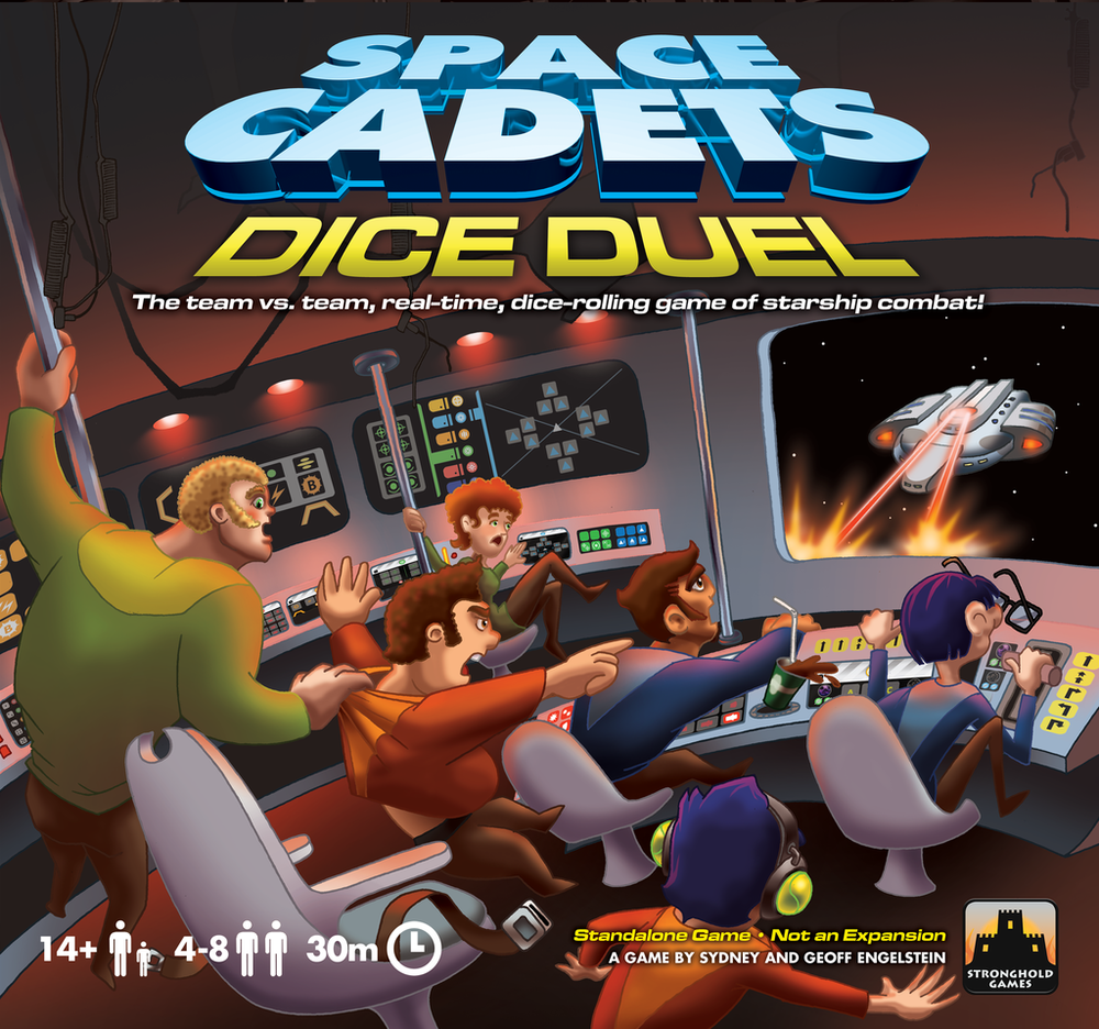 "SPACE CADETS: DICE DUEL    TIME: 5  PLAYERS: 4-8  DIFFICULTY: MEDIUM Category: Real-time, Dice, Party Space Cadets: Dice Duel – the ""Team vs. Team, Real-time, Dice-Rolling Game of Starship Combat!"" – Pit team against team as you are flailing about wildly attempting to blow the enemy team's ship out of the sky! What makes Space Cadets so interesting and intense is that there are no game turns, instead everyone is acting simultaneously to operate their section of the ship to harmoniously flight in, lock on and fire!"