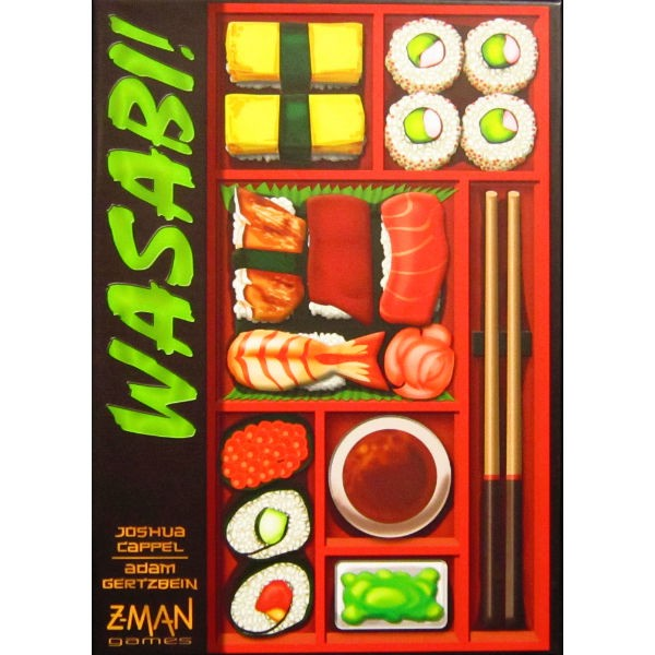 WASABI!       TIME: 45  PLAYERS: 2-4  DIFFICULTY: MEDIUM Category: Tile Placement, Strategy For our sushi lovers there is Wasabi! As sushi masters you must compete against each other to assemble unique sushi recipes in a rapidly dwindling space. Wasabi! Is a really colourful, uniquely themed game that can be a real brain burner at times as your options become increasingly limited. Enjoy this delicious challenge.