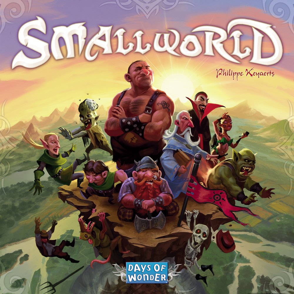 SMALLWORLD TIME: 80 PLAYERS: 2-5DIFFICULTY: MEDIUM Category: Area Control, Strategy Civilizations of Giants, Ratmen, Amazons, Ghouls and more vie for control of this fantasy world. Conquer adjacent territories in order to push other players off of the face of the earth. Random race + power combinations keep this game fresh but it will still require a good strategy too. If the thought of Flying Giants and Berserk Halflings duking it out excites you, try Small World.