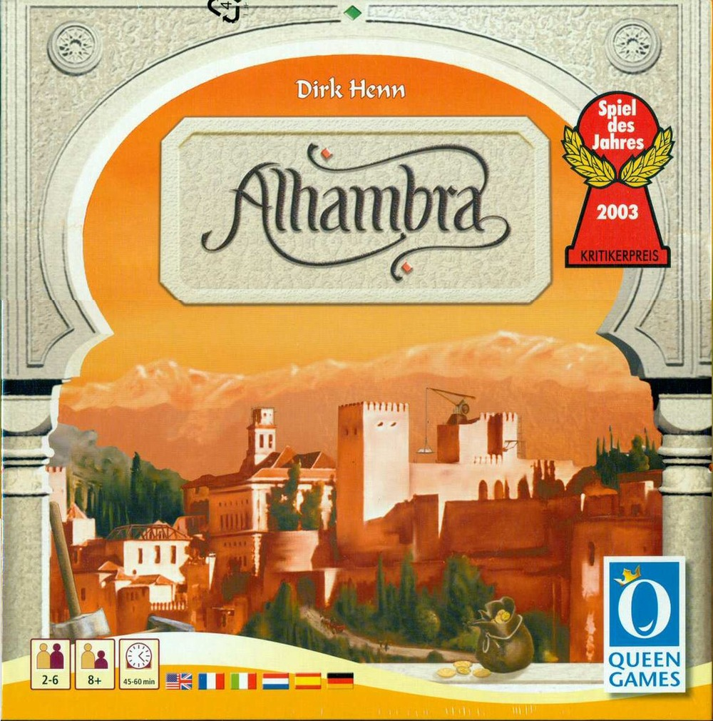 """ALHAMBRA   TIME: 60 PLAYERS: 2-6DIFFICULTY: MEDIUM Category: Strategy, Tile Placement, Set Collection Master builders in the whole of Europe and Arabia want to demonstrate their skill but whether they are stonemasons from the north or horticulturalists from the south, they all want a proper wage and insist on their """"native"""" currency. Do you have the skills to pay the bills and build the greatest Alhambra around?Winning game of the year in 2003, Alhambra is known as a classic, light strategy game for everyone to enjoy."""