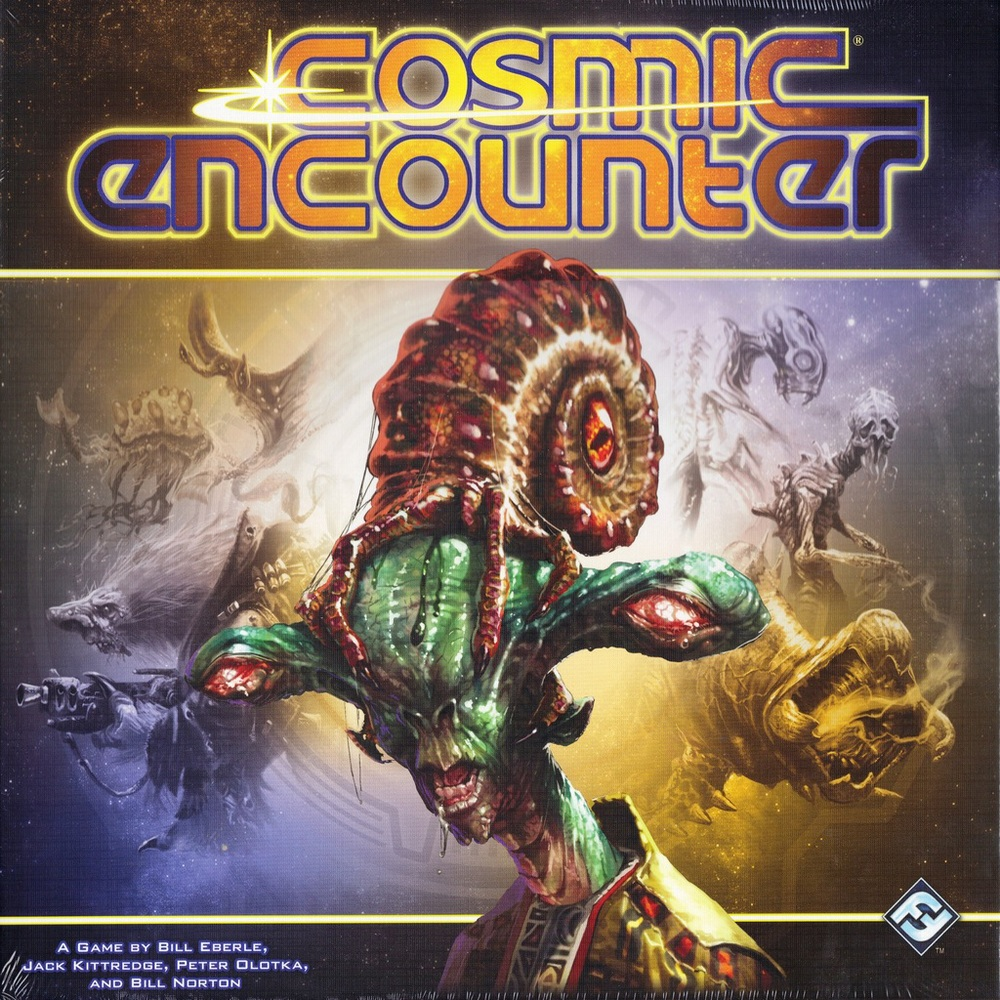 """COSMIC ENCOUNTER  TIME: 60 PLAYERS: 2-5DIFFICULTY: MEDIUM Category: Bluffing, Negotiation, Hand Management In this game of intergalactic mayhem chaos is king as you're all forming and breaking alliances to take over alien planets. The best bit is everyone starts with outrageously over the top special powers that flip the game on its head. Cosmic Encounter is one of those dividing games which you love or loathe, but if your board game checklist contains the words """"Random"""", """"Conflict"""", """"Alliances"""" and """"Betrayal"""" then you are in for a stellar treat!"""