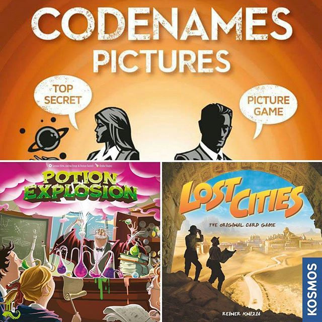 Whats new to The Hungry Hippo shelves this week?  Cash in by mounting expeditions to ancient archaeological sites in the classic couples card game Lost Cities. 2 players, 30 minutes. Gather your field operatives together for the latest edition of Codenames: Pictures. 2-8 players, 30 minutes. Finally dear students, it's time for final exams in Potions class! Become Student of the Year at the Horribilorum Sorcery Academy in Potion Explosion. 2-4 players, 60 minutes.  All available for purchase and play tonight at The Hungry Hippo. #thehungryhippo #boardgamecafe #lostcities #codenamespictures #potionexplosion
