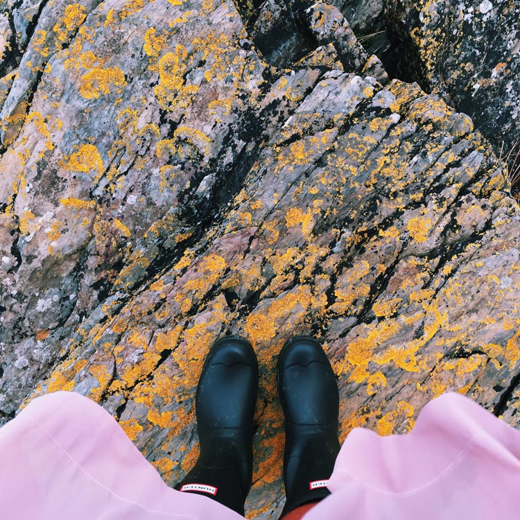 Wellies on the rocks