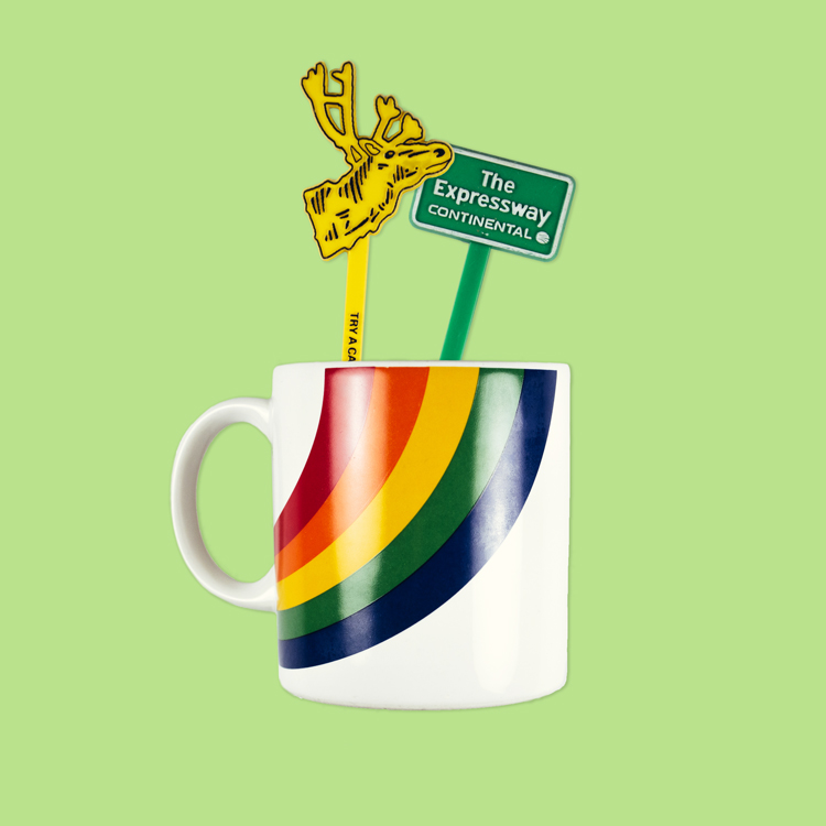 Rainbow mug and stir sticks