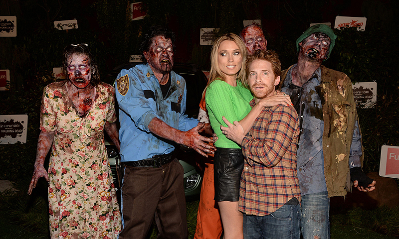 Clare Grant and Seth Green at The Walking Dead party