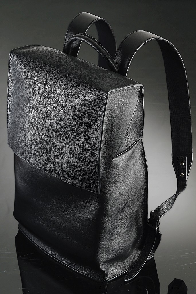 "Balenciaga's black leather backpack for ""A New York Holiday.      Photo Courtesy George Chinsee"