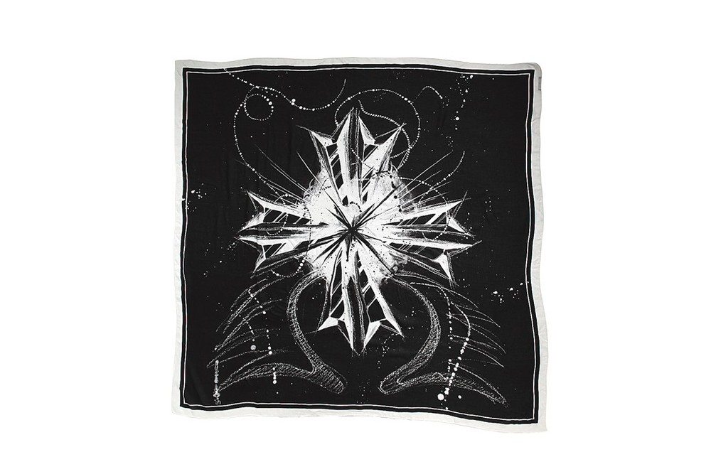 "Balmain's black square print scarf for ""A New York Holiday.""  Photo Courtesy George Chinsee"