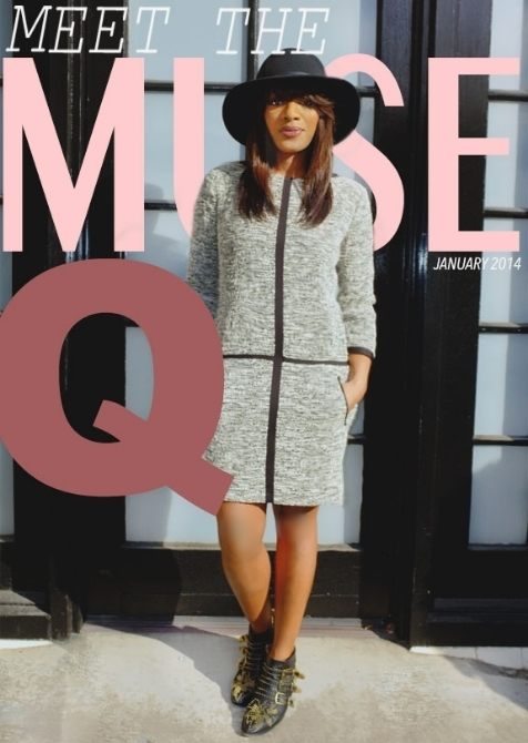 Q is wearing a Rag & Bone dress and hat, Chloe studded boots