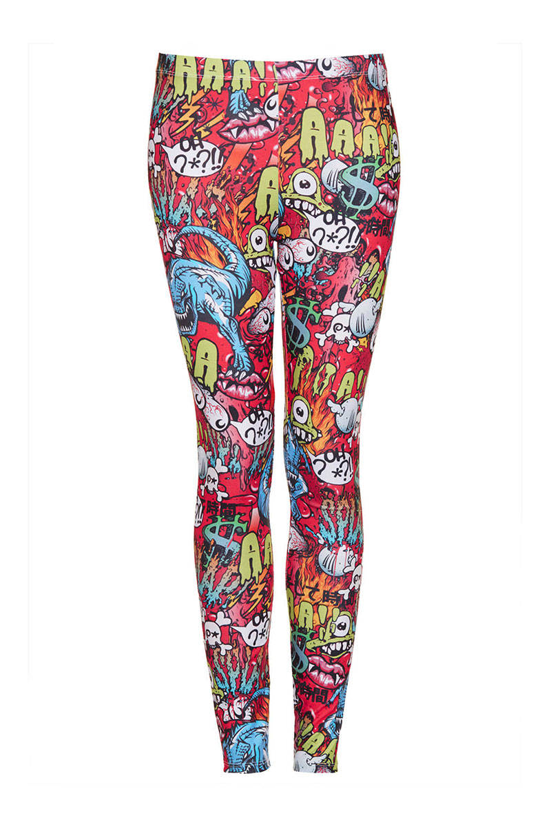 Monster comic print leggings