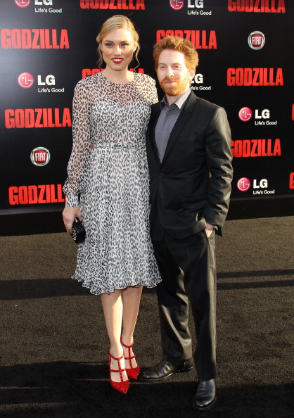 Clare Grant pictured above with her husband, Seth Green.