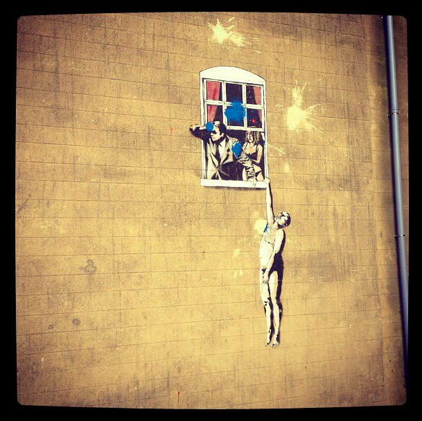 I went to Bristol London a few months ago, was hanging out with John Baggott from Massive Attack and Portishead. He showed me Bristol from his point of view- that's a famous piece of art made by Banksy (the graffiti artist).