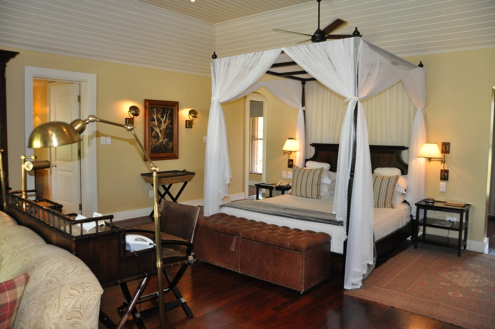 Our lodge boasts two bathrooms, 2 sitting rooms, a pool and a private terrace. The decor is so Ethan Allen/out of Africa.