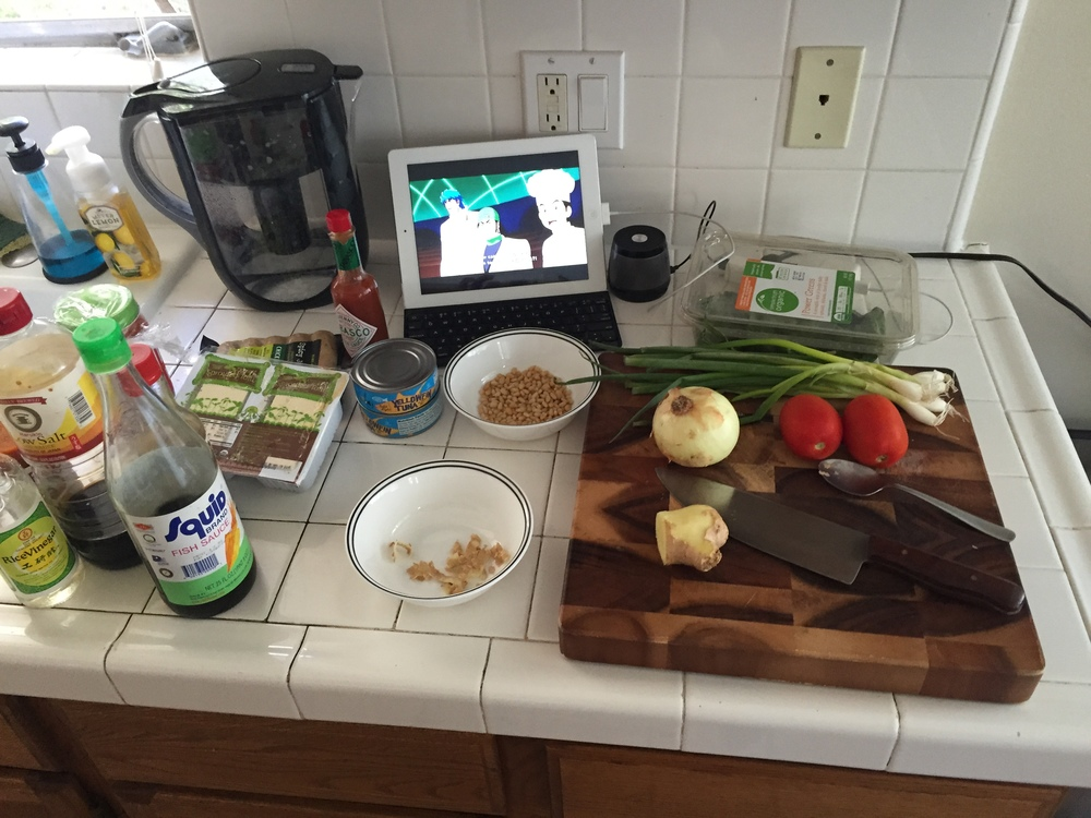 Cooking while watching Toriko. Yep, my favorite anime is about cooking.