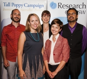 Left-to-right: Dr Julian Berengut (Physics), Dr Jessica Grisham (Psychology), Dr Sarah Perkins (Climate Change Research Centre), Dr Belinda Liddell (Psychology), Dr Neeraj Sharma (Chemistry).