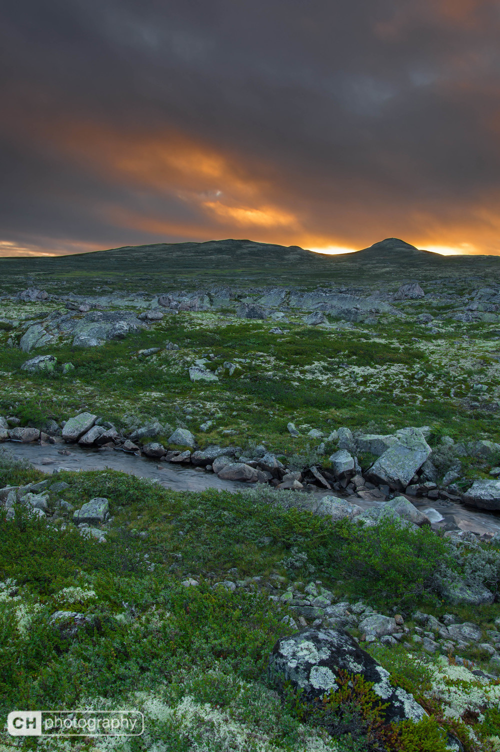Sunrise over Norwegian landscape