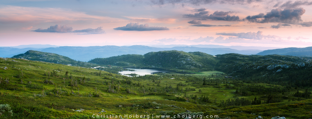 Panorama of Tempelseter in Buskerud, Norway during a soft pink sunset
