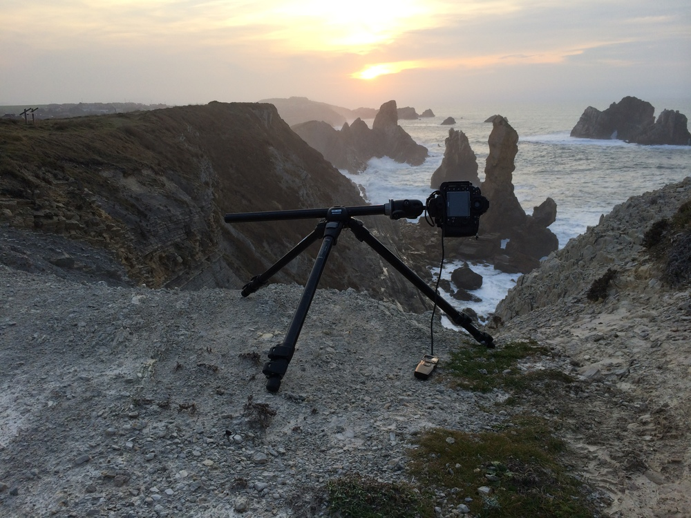 My setup while the sun was setting over Liencres, Spain