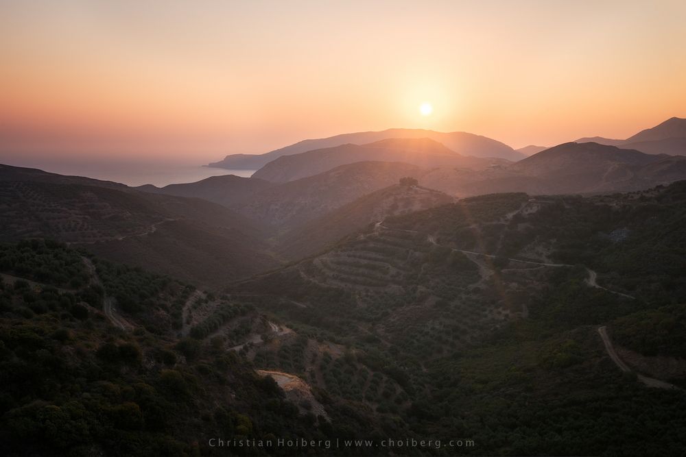 Sunrise above Cretan villages