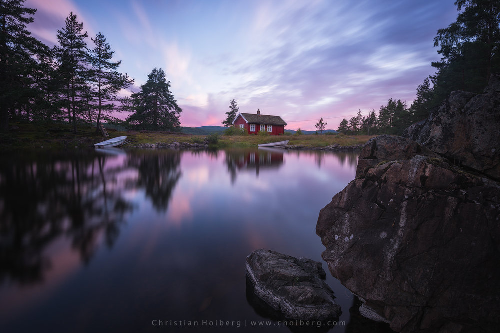 cabin by the lake sunrise - taken with a 10 stop nisi filter