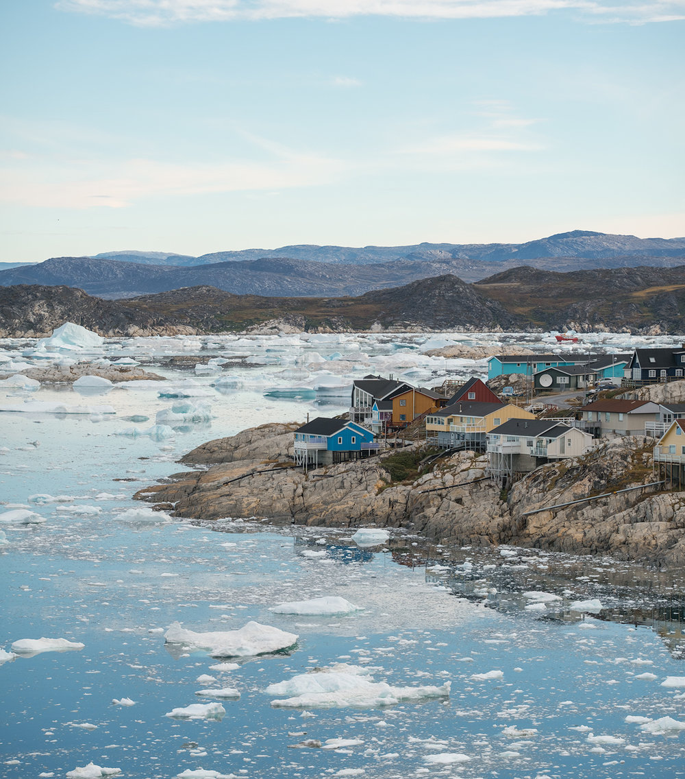 Ilulissat - Scenic houses of Greenland's third largest town Ilulissat