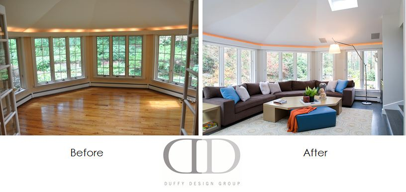 Family Room Renovation Project, Weston, MA   Duffy Design Group, Inc.