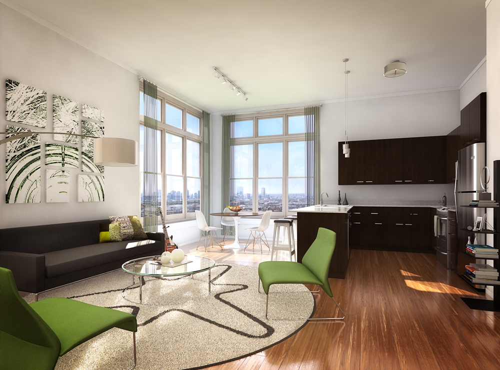Rendering of One North Boston Model Unit