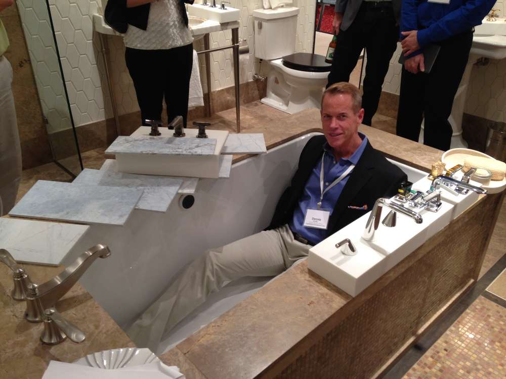"Dennis trying out a new Kallista 60"" tub"
