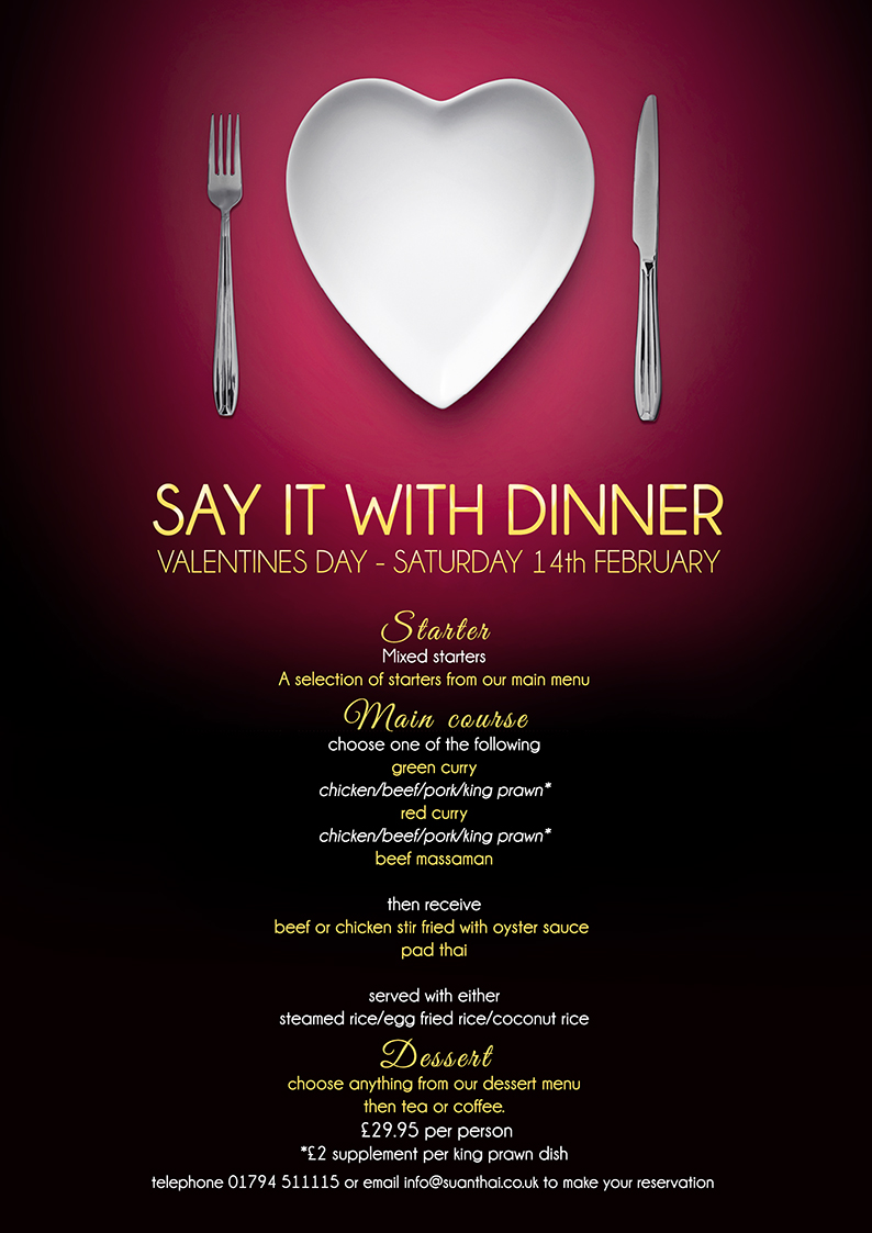 Valentine S Day Menu Suan Thai Restaurant