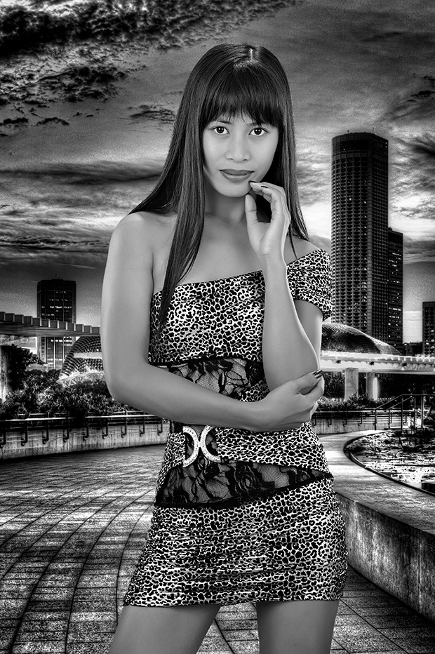 Ana composited into a scene from Marina Bay, Singapore.