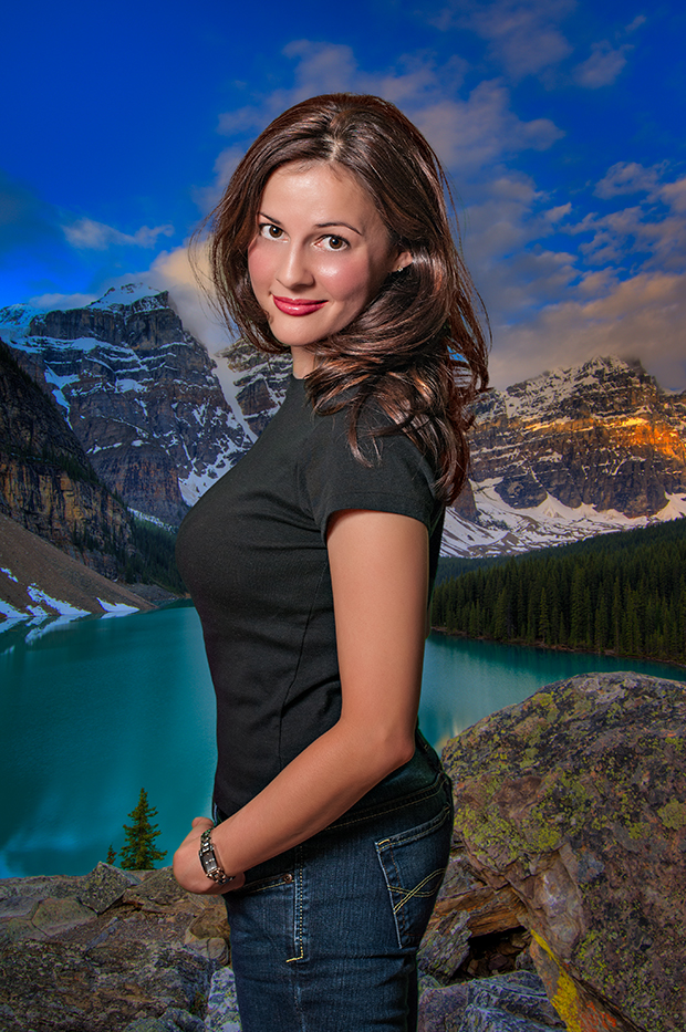 A typical glamour composite of Charissa with an HDR background.