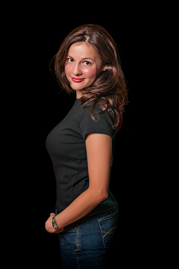 A composite of Charissa with a black background.