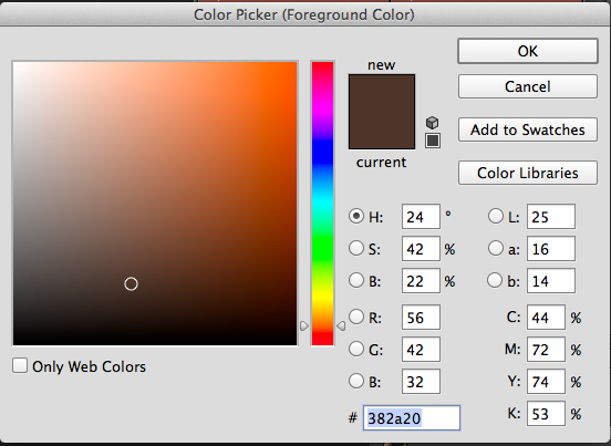 The Color Picker to change the Foreground Color.