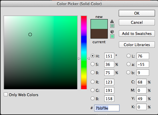 The Color Picker to add a new Solid Color.