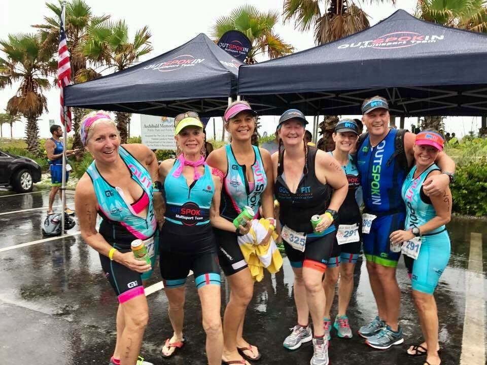 GOATs trying to dry out after the rainy but awesome Top Gun Triathlon at Fort Desoto.