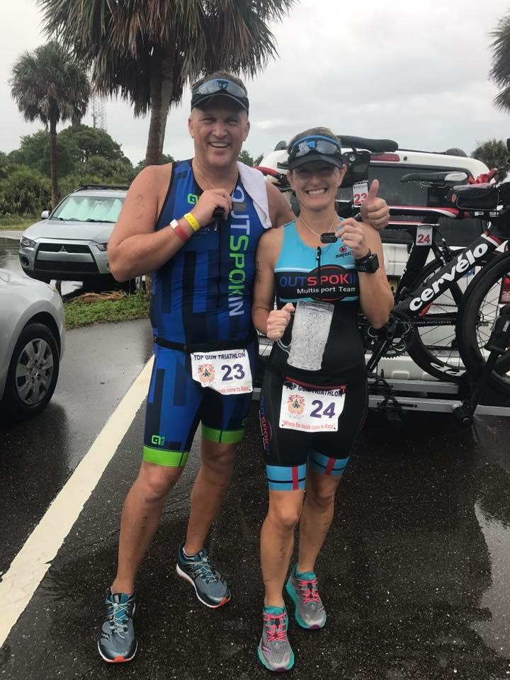 The Jernigans showing off their PR dog tags after the Top Gun Tri.