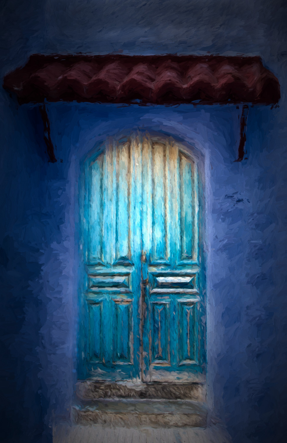 A door at night