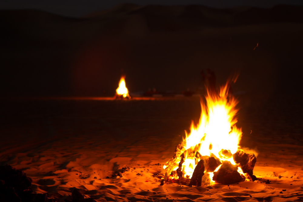 Firelight at the desert