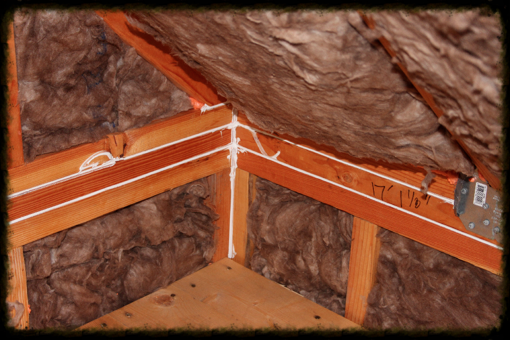 Knauf Eco Batts (self-installed) in second floor attic bays. Air sealing with Chem Link non toxic caulk and spray foam.