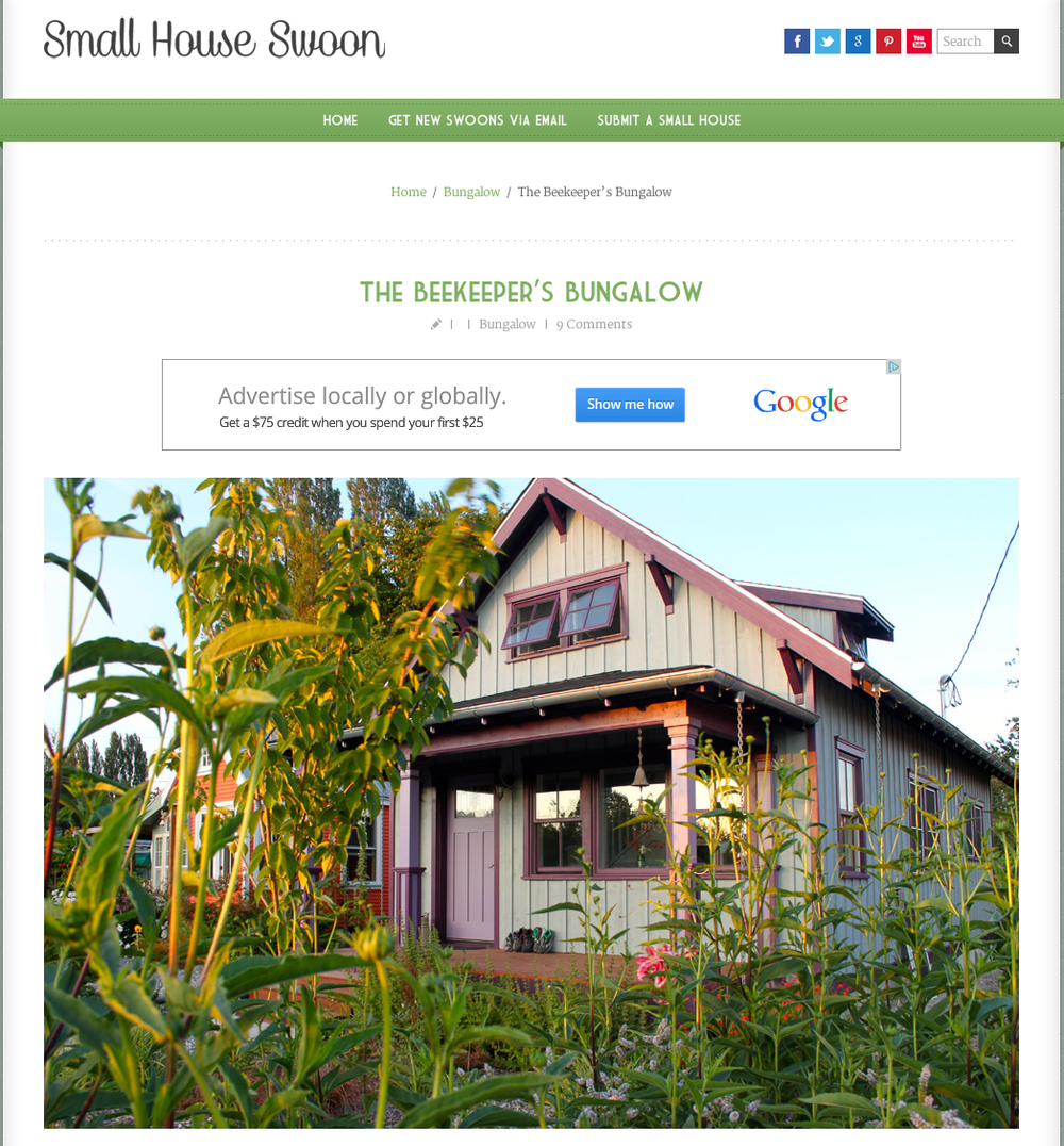 The Beekeeper's Bungalow was featured this month in Small House Swoon